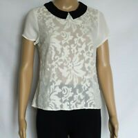 Ladies Size 8 ~ Dotti Semi Sheer Embroidered Top with Collar ~ MBC