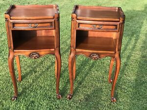 Pair Vintage French Ornate Carved Bedside Table Unit chest drawers Night Stand