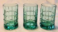 VINTAGE Anchor Hocking Juice Glasses 8 oz TARTAN GREEN 3-Piece Set