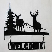 Deer Welcome Sign 2 Piece Buck and Doe Plasma Metal Art Wildlife Mountains Tree