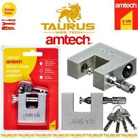 AMTECH 50mm Steel Shutter Padlocks Heavy Duty Container 4 Keys Safe Shackle UK