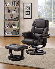 Executive Recliner Chair with Footstool Rocking Armchair Home Office Black Brown