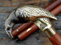 Raven Head Handle Solid Brass Vintage Style Victorian Wooden Walking Stick Cane