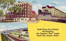 "HOTEL OJIBWAY AND HOTEL PARK, OVERLOOKING THE ""SOO"" LOCKS, SAULT STE MARIE, MI"
