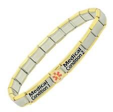 GOLD TRIM Custom Made two conditions Medical Alert Stainless Steel Bracelet