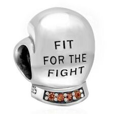 BOXING GLOVE FIT FOR THE FIGHT Charm Bead 925 Sterling Silver