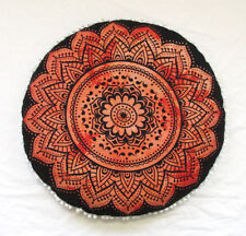 """28"""" Orange Floral Mandala Floor Pillow Cover Hippie Indian Round Cushion Covers"""