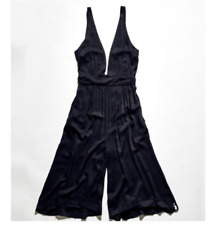 One Teaspoon XS Carmen Black Jumpsuit Wide Leg Deep V Neck Romper Crop $178 Sexy