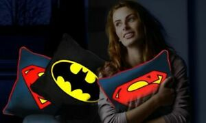 DC Comics Batman/Superman Glow in the Dark Square Cushion/Pillow for Kids Room
