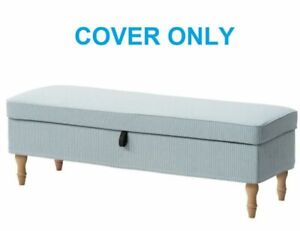 Ikea STOCKSUND Bench Ottoman Footstool Cover Slipcover REMVALLEN BLUE/WHITE New