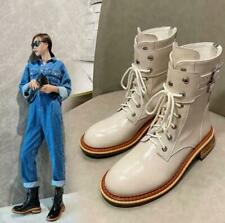 Womens Fashion Leather Buckle Strap Lace Up Biker Combat Ankle Boots Shoes BYW