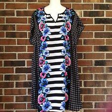 NWT Ladies Large Black Multi Shift Dress Floral Stripes Cap Sleeve Slip Included