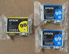 Epson 98 Ink Cartridges Cyan Yellow T0984 T0982 T0992 Artisan GENUINE sealed new