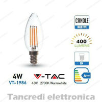 Lampadina led V-TAC 4W = 40W E14 bianco caldo 2700K VT-1986 a candela filamento