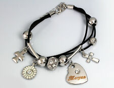 White Gold Charm Name MORGAN Leather Bracelet Birthday Christmas Gifts For Her