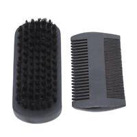 Black Beard Brush & Comb Set for Men Boar Bristle Wood Brush & Handmade G