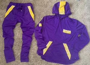JD Fashion Yellow/Purple Bandanna Trim Long Sleeve Hoodie & Jogger Pants Sz L