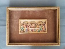 Vintage Anri Hand Carved Wood Last Supper With Framed