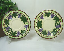 2-SAUCERS Vintage 1960'S Grape Leaf Vine Pattern Ceramic Pottery BJD DESKINES
