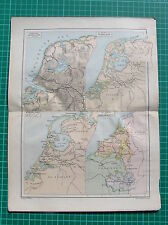 Antique map : Netherlands,Holland / landkaart Nederland / karte Niederlande 1897