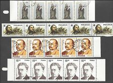 POLAND - TEN DIFFERENT STRIPS OF FIVE STAMPS - CTO, FULL GUM, NEVER HINGED