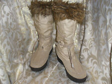 STEVE MADDEN BEIGE TAN NYLON / SUEDE TALL BOOTS FAUX FUR TRIM SEQUALL SIZE 9