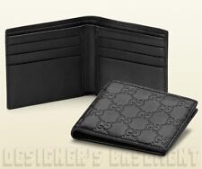 GUCCI Mens soft black Leather GUCCISSIMA GG embossed Bifold wallet NIB Authentic