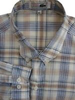 LACOSTE Shirt Mens 17 XL White - Blue & Orange Check