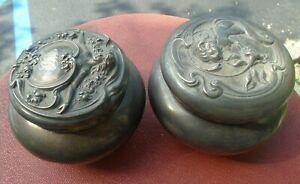 Two Vintage Art NOUVEAU Derby Silver Co. Dresser Trinket Boxes