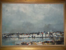Large Original Oil Painting of Middle East Hurbor by Kisling