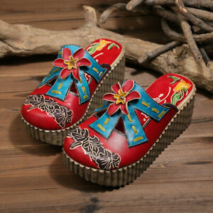 Ladies Ethnic Thick-soled Cowhide Leather Sandals  Women Handmade Home Slippers