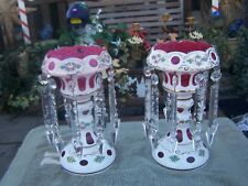 beautiful hand painted  pink and white  mantle luster 11 1/2' tall