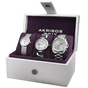 Akribos AK738SS Swiss Quartz Silvertone Diamond Multifunction Womens Watch Set