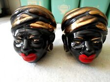 """Vtg Rare 40s-50s Pair of African Woman in Turban Head Vases 4"""" Tall (Pre-Owned)"""
