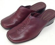 Bare Traps Mules Womens Backlash Burgundy Leather Slip On Comfort Shoes Size 7.5