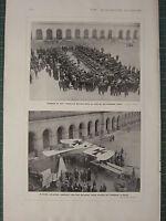 1915 WWI WW1 Stampa ~ Captured Tedesco Pistole Invalides Parigi ~ Taube Aereo