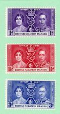 British Solomon Islands 3 stamps, Sc 64 - 66, KGVI Coronation, 1937, MPH