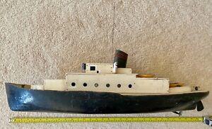 "30"" long Mamod powered working steam boat c.1960, original, restoration project."