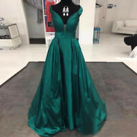 2018 Fashion Green Long Evening Dresses Satin V Neck Party Prom Ball Gowns 6-20
