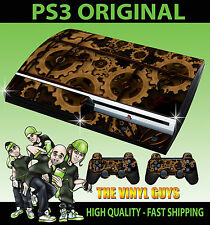 PLAYSTATION PS3 ORIGINAL STICKER STEAMPUNK GEARS VICTORIAN SKIN & 2 PAD SKINS
