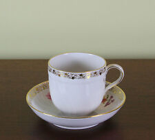 Collectors Hand-Painted Coffee Cup & Saucer with  Five Delicate Antique Bouquets