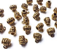 25 x Flower Pattern Bail Charm Pendant Hanger, Antique Gold tone, Fit 3mm cord