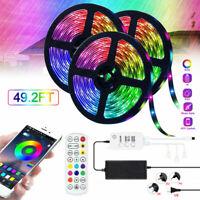 5M 10M 15M 12V 5050 RGB Smart LED Light Strip W/ Bluetooth Music Sync Controller