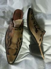 Wm TONY LAMA 3005 Western Mules Slides Brown Leather Inlaid Size 6 B Mexico Made