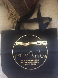 "San Francisco Cotton Cloth Canvas Tote Bag Large 18""x15""x4 .Black Gold BRAND NEW"