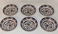 Vintage Double Phoenix Nikko Ironstone China 6pc Bowls Red White Blue Floral