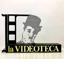 Rarissima insegna luminosa Charlie Chaplin videoteca plexiglass anni '80 vintage