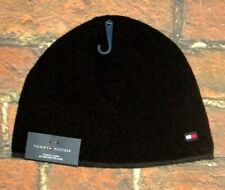 MENS TOMMY HILFIGER  FLEECE LINED BLACK BEANIE HAT ONE SIZE