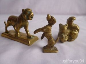 Vintage Solid Brass Small Set of Three Rearing Dog, Squirrel, Tiger Ornaments