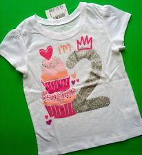 "NEW* ""I'm 2"" 2nd Year Girls Birthday Shirt 18-24 Months Cupcake Princess Gift SS"